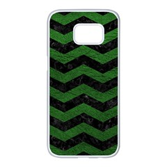 CHEVRON3 BLACK MARBLE & GREEN LEATHER Samsung Galaxy S7 edge White Seamless Case