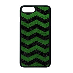 CHEVRON3 BLACK MARBLE & GREEN LEATHER Apple iPhone 7 Plus Seamless Case (Black)