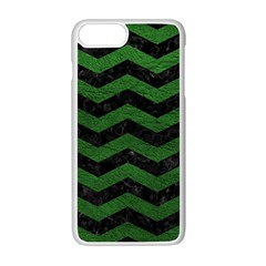 CHEVRON3 BLACK MARBLE & GREEN LEATHER Apple iPhone 7 Plus White Seamless Case
