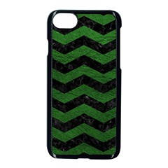 CHEVRON3 BLACK MARBLE & GREEN LEATHER Apple iPhone 7 Seamless Case (Black)