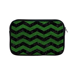 CHEVRON3 BLACK MARBLE & GREEN LEATHER Apple MacBook Pro 13  Zipper Case
