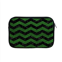 CHEVRON3 BLACK MARBLE & GREEN LEATHER Apple MacBook Pro 15  Zipper Case