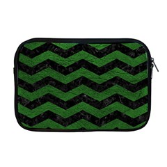 CHEVRON3 BLACK MARBLE & GREEN LEATHER Apple MacBook Pro 17  Zipper Case