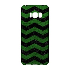 CHEVRON3 BLACK MARBLE & GREEN LEATHER Samsung Galaxy S8 Hardshell Case