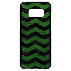 CHEVRON3 BLACK MARBLE & GREEN LEATHER Samsung Galaxy S8 Black Seamless Case