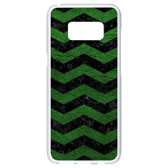 CHEVRON3 BLACK MARBLE & GREEN LEATHER Samsung Galaxy S8 White Seamless Case