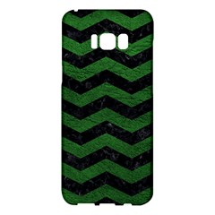 CHEVRON3 BLACK MARBLE & GREEN LEATHER Samsung Galaxy S8 Plus Hardshell Case
