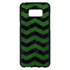 CHEVRON3 BLACK MARBLE & GREEN LEATHER Samsung Galaxy S8 Plus Black Seamless Case