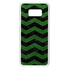 CHEVRON3 BLACK MARBLE & GREEN LEATHER Samsung Galaxy S8 Plus White Seamless Case