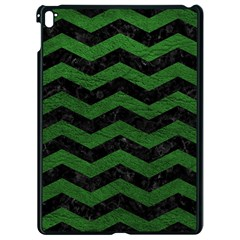 CHEVRON3 BLACK MARBLE & GREEN LEATHER Apple iPad Pro 9.7   Black Seamless Case