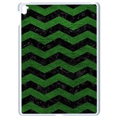 CHEVRON3 BLACK MARBLE & GREEN LEATHER Apple iPad Pro 9.7   White Seamless Case