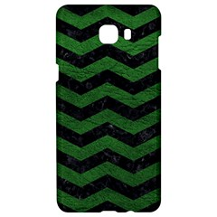 CHEVRON3 BLACK MARBLE & GREEN LEATHER Samsung C9 Pro Hardshell Case