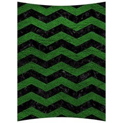 CHEVRON3 BLACK MARBLE & GREEN LEATHER Back Support Cushion