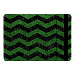 CHEVRON3 BLACK MARBLE & GREEN LEATHER Apple iPad Pro 10.5   Flip Case