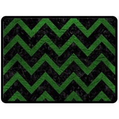 Chevron9 Black Marble & Green Leather Fleece Blanket (large)  by trendistuff