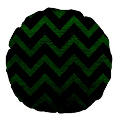 Chevron9 Black Marble & Green Leather Large 18  Premium Round Cushions by trendistuff