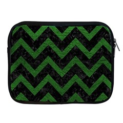 Chevron9 Black Marble & Green Leather Apple Ipad 2/3/4 Zipper Cases by trendistuff