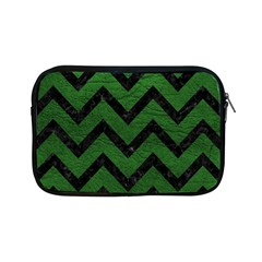 Chevron9 Black Marble & Green Leather (r) Apple Ipad Mini Zipper Cases by trendistuff