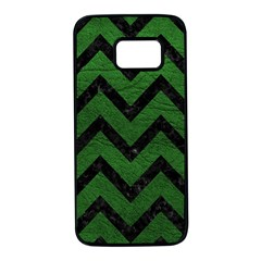Chevron9 Black Marble & Green Leather (r) Samsung Galaxy S7 Black Seamless Case by trendistuff