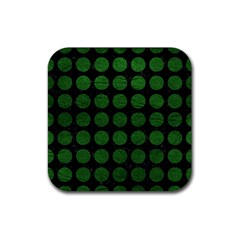 Circles1 Black Marble & Green Leather Rubber Square Coaster (4 Pack)  by trendistuff