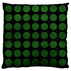 Circles1 Black Marble & Green Leather Large Cushion Case (one Side) by trendistuff