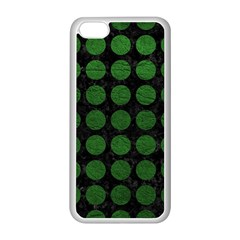 Circles1 Black Marble & Green Leather Apple Iphone 5c Seamless Case (white)