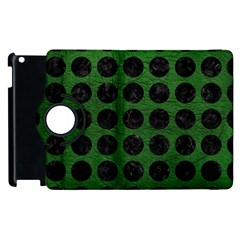 Circles1 Black Marble & Green Leather (r) Apple Ipad 2 Flip 360 Case by trendistuff