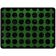 Circles1 Black Marble & Green Leather (r) Double Sided Fleece Blanket (large)