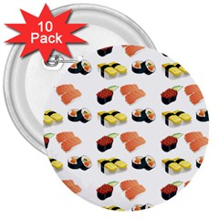 Sushi Pattern 3  Buttons (10 Pack)  by Valentinaart