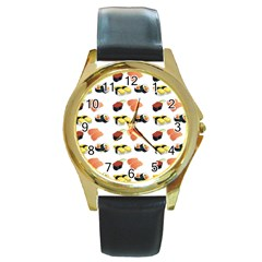 Sushi Pattern Round Gold Metal Watch