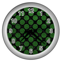 Circles2 Black Marble & Green Leather Wall Clocks (silver)