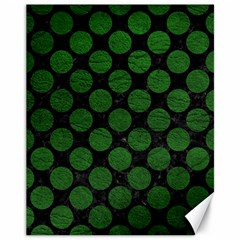 Circles2 Black Marble & Green Leather Canvas 11  X 14   by trendistuff