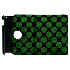 Circles2 Black Marble & Green Leather Apple Ipad 2 Flip 360 Case by trendistuff