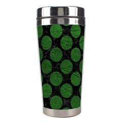 Circles2 Black Marble & Green Leather Stainless Steel Travel Tumblers by trendistuff