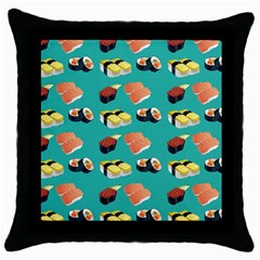 Sushi Pattern Throw Pillow Case (black) by Valentinaart