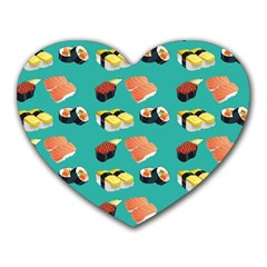 Sushi Pattern Heart Mousepads by Valentinaart