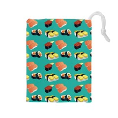 Sushi Pattern Drawstring Pouches (large)  by Valentinaart