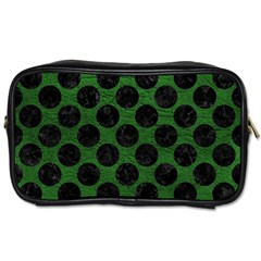 Circles2 Black Marble & Green Leather (r) Toiletries Bags 2 Side by trendistuff