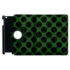 Circles2 Black Marble & Green Leather (r) Apple Ipad 2 Flip 360 Case by trendistuff