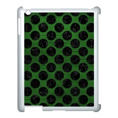 Circles2 Black Marble & Green Leather (r) Apple Ipad 3/4 Case (white) by trendistuff