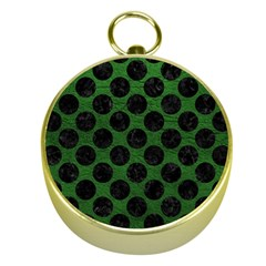 Circles2 Black Marble & Green Leather (r) Gold Compasses by trendistuff