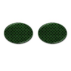 Circles3 Black Marble & Green Leather Cufflinks (oval) by trendistuff