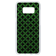 Circles3 Black Marble & Green Leather Samsung Galaxy S8 White Seamless Case by trendistuff