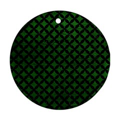 Circles3 Black Marble & Green Leather (r) Round Ornament (two Sides) by trendistuff