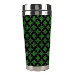 Circles3 Black Marble & Green Leather (r) Stainless Steel Travel Tumblers by trendistuff