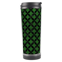 Circles3 Black Marble & Green Leather (r) Travel Tumbler by trendistuff