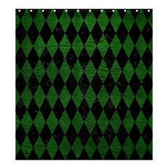 Diamond1 Black Marble & Green Leather Shower Curtain 66  X 72  (large)  by trendistuff