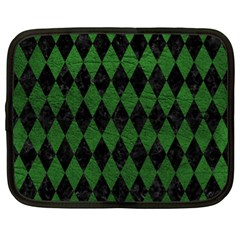 Diamond1 Black Marble & Green Leather Netbook Case (xl)  by trendistuff