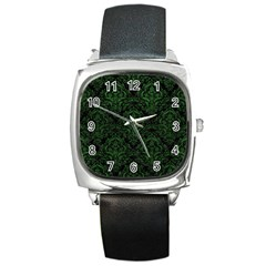 Damask1 Black Marble & Green Leather Square Metal Watch by trendistuff
