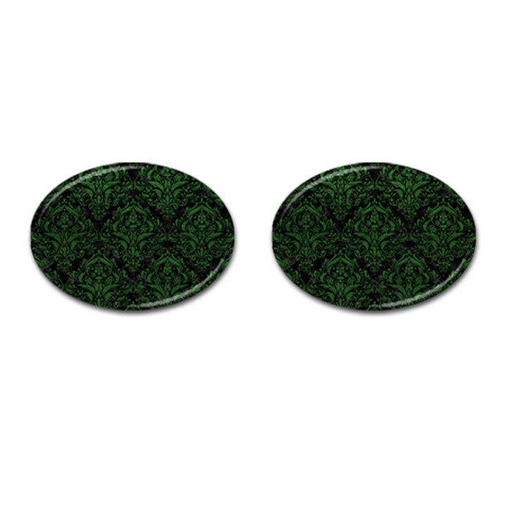 DAMASK1 BLACK MARBLE & GREEN LEATHER Cufflinks (Oval)